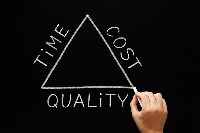 what type of roofing shingle to buy - time cost quality triangle concept